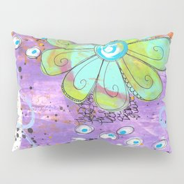Mixed media painted background with flowers Pillow Sham