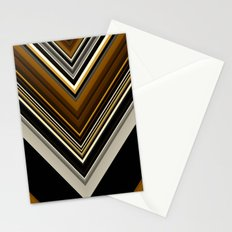 Retro Triangles Pattern in black, grey, yellow and brown Stationery Cards