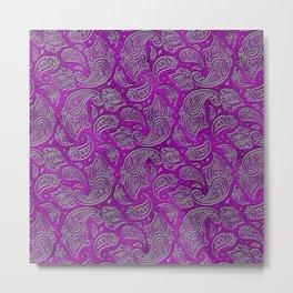 Silver embossed Paisley pattern on purple glass Metal Print