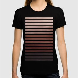 Watercolor Gouache Mid Century Modern Minimalist Colorful Raw Umber Stripes T-shirt