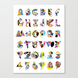 AMP Noise collage alphabet (white poster) Canvas Print