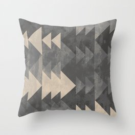 Geometric triangles abstract pattern - Gray tones & Beige Throw Pillow