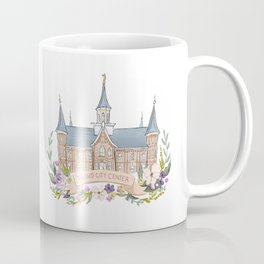 Provo City Center LDS watercolor Temple with flower wreath  Coffee Mug