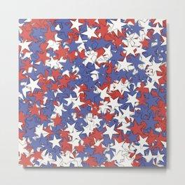 Red blue white stars Metal Print