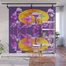 PURPLE-WHITE IRIS & MOON WATER GARDEN  REFLECTION Wall Mural