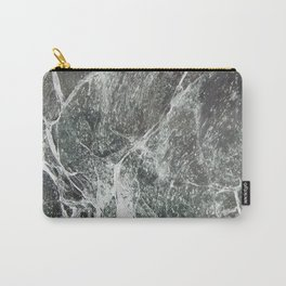 Black marble dark gray marble print with white vains real marble texture pattern natural rock Carry-All Pouch