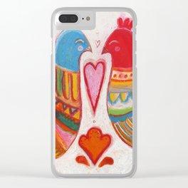 Folk Love Birds Clear iPhone Case