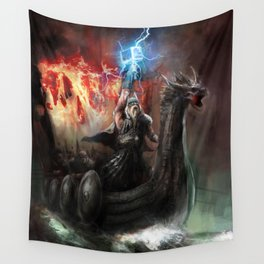 Dragon Viking Ship Wall Tapestry