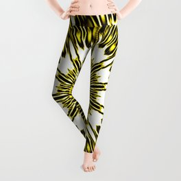 Yellow White Black Sun Explosion Leggings