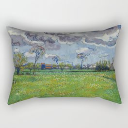 Meadow With Flowers Under a Stormy Sky Rectangular Pillow