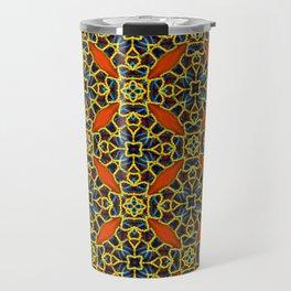 Beautifu Blue and Orange Geometric Beadwork Print Travel Mug