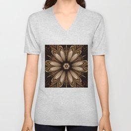 Abstract flower mandala with geometric texture Unisex V-Neck