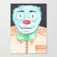 muppet Canvas Prints featuring Blue Muppet by Steven Hanna