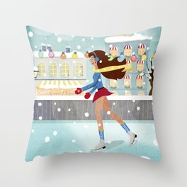 Ice Skating Girl Throw Pillow