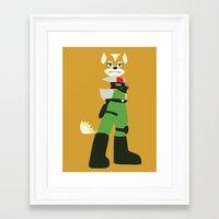 starfox Framed Art Prints featuring Starfox - Minimalist - Nintendo by Ese51