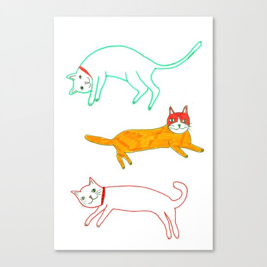 Lying cats Canvas Print