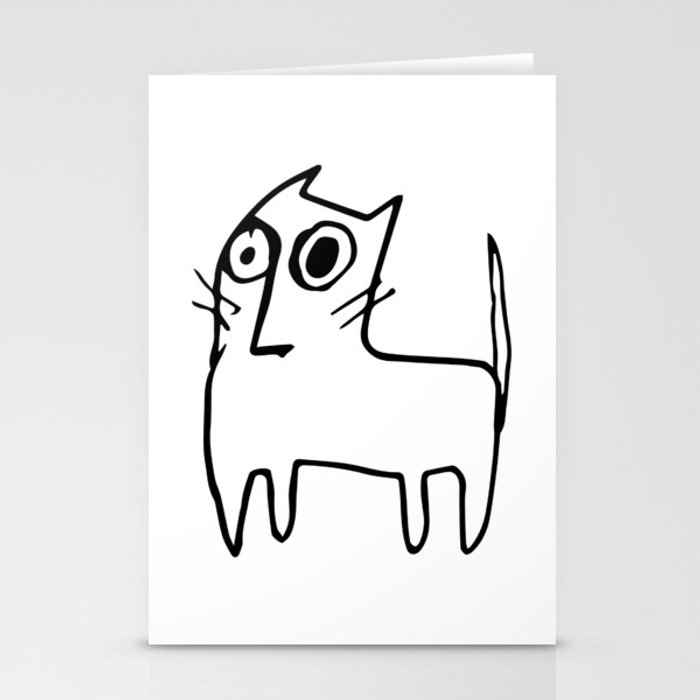 A mangy, miffed and slightly damaged cat Stationery Cards