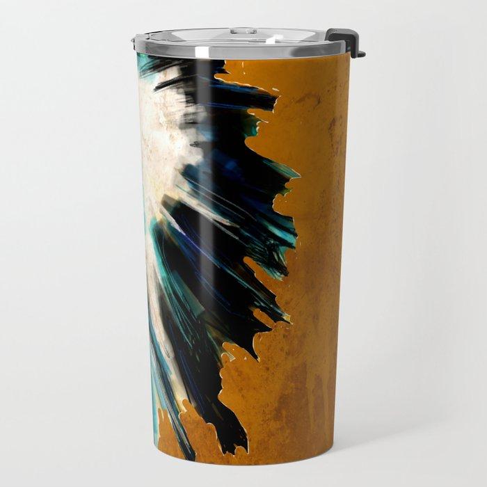 Native Headdress Orange Edit Travel Mug