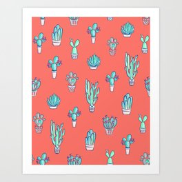 Little Cactus Pattern on Living Coral Art Print