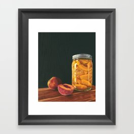 Mason Jar Peaches Framed Art Print