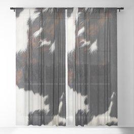 Cowhide Farmhouse Decor Sheer Curtain