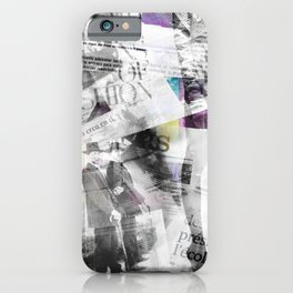 Newspaper collage iPhone Case