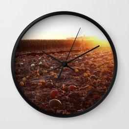 Pumpkin Patch Sunset A Wall Clock