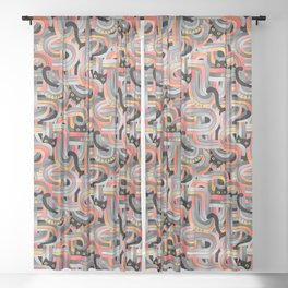 Geo Cats Maze in Sunset Colors plus Grey Sheer Curtain