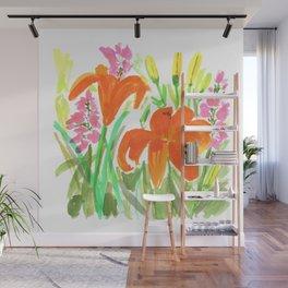 Orange Summer Lilies and Pink Flowers / Wildflowers / Summer Fields of Flowers Wall Mural