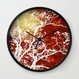 Burgundy Tree Art Wall Clock