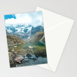 Perfection | Nature Landscape Photography of Still Blue Lake with Snowy Mountains in Peru Stationery Cards