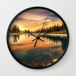 Lake Mountains and Sunset Wall Clock