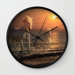 Sea Horses, Soul Mates, Running Horses, Spirits of the Sea Wall Clock