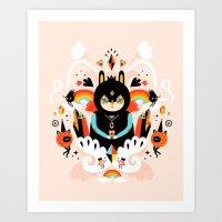 queen Art Prints featuring Rainbow Queen by Muxxi