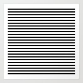 Black And White Stripes Breton Nautical Minimalist Art Print