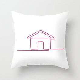 House Continuous Line Art Throw Pillow