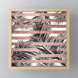 Trendy tropical palm trees chic rose gold stripes Framed Mini Art Print