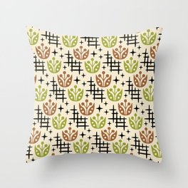 Mid Century Modern Space Flower Pattern Brown and Chartreuse Throw Pillow