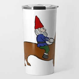 Gnome Riding a Dachshund Travel Mug