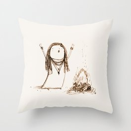 Campfire Lady Throw Pillow