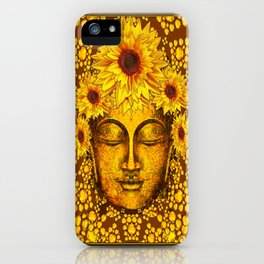 Golden Sunflowers  Sun Lover Coffee Brown Patterns iPhone Case