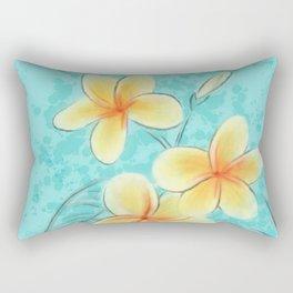 Tropical Turquoise Frangipani Rectangular Pillow