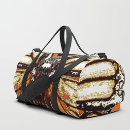 RIBBED WHITE BROWN & BLACK BUTTERFLY WING VEINS Duffle Bag