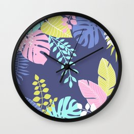Bold Pastel Jungle Floral Wall Clock