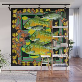 YELLOW & ORANGE MONARCH BUTTERFLIES FISH VIGNETTE Wall Mural