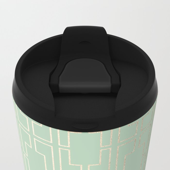 Simply Mid-Century in White Gold Sands and Pastel Cactus Green Metal Travel Mug
