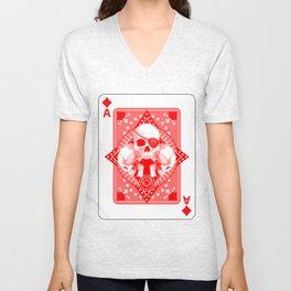 Skull Ace of Diamonds Unisex V-Neck
