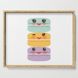 Kawaii macaroon funny orange blue lilac cookie with pink cheeks with pink cheeks and big eyes Serving Tray