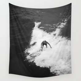 Black and White Wave Surfer Wall Tapestry