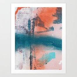 Poetry [1]: a vibrant abstract mixed-media painting in teal and pink by Alyssa Hamilton Art Art Print